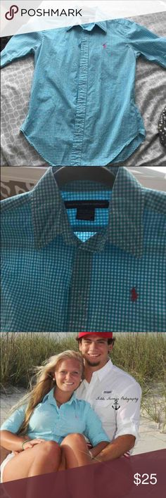 Great condition polo button down Worn once for pictures- IT HAS NO flaws! Size 6 Polo by Ralph Lauren Tops Button Down Shirts