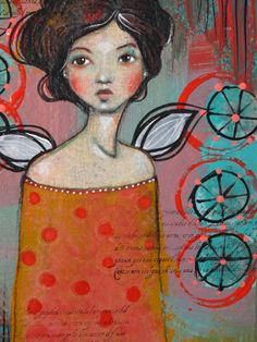 """Original OOAK 4 x 6 Mixed Media acrylic colored pencil """"Give Me Wings"""" A Kennedy portrait woman red teal butterfly"""