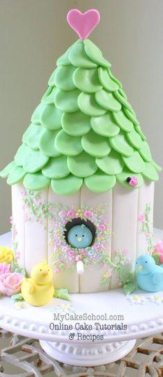 ADORABLE Birdhouse Cake{member section} Online Cake Decorating Tutorials & Recipes! Pretty Cakes, Cute Cakes, Yummy Cakes, Fondant Cakes, Cupcake Cakes, Marshmallow Fondant, Fondant Icing, Fondant Figures, Amazing Cakes