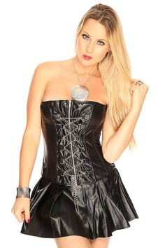 #FashionVault #kandy kouture #Women # - Check this : Black Faux Leather Strapless Sexy 3Pc. Set Corset for $44.99 USD instead of $14.99 #OnSale