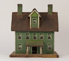 GREEN-PAINTED FOLK-ART MINIATURE HOUSE   Rick Maccione-Dollhouse Builder www.dollhousemansions.com