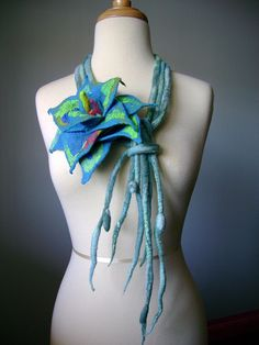 Felted floral Art scarf / necklace Handpainted silk wool ropes OOAK | Flickr - Photo Sharing!