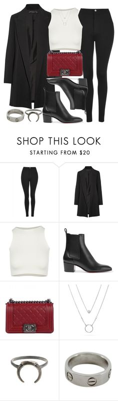 """""""Style #11441"""" by vany-alvarado ❤ liked on Polyvore featuring Topshop, The Row, Free People, Christian Louboutin, Chanel and Cartier"""
