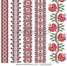 Explore high-quality, royalty-free stock images and photos by Brenik available for purchase at Shutterstock. Embroidery Online, Folk Embroidery, Learn Embroidery, Embroidery Stitches, Embroidery Patterns, Machine Embroidery, Cross Stitch Borders, Cross Stitch Alphabet, Cross Stitch Designs