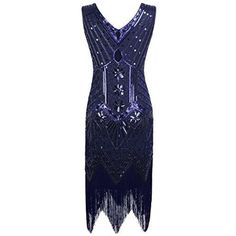 PrettyGuide Women's V Neck Beaded Sequin Art Deco Gatsby Inspired Flapper Dress – best woman's fashion products designed to provide 1920 Flapper Dresses, Roaring 20s Dresses, Plus Size Flapper Dress, Flapper Outfit, Great Gatsby Dresses, Fringe Flapper Dress, 1920s Dress, Flapper Costume, 1920s Flapper