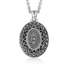 style black jewelry marcasite silver vintage necklace pendant collections products sterling apop