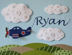 Flying and Writing  Airplane art with a name or by studiohappynest, $85.00