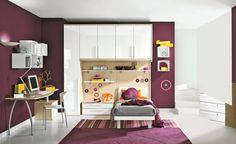 Children's Room Decorating Ideas Photos: Children's Room Decorating Ideas With Purple Themed Purple Walls And Purple Rug ~ jsdpn.com Kids Room Designs Inspiration