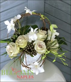 Rustic floral arrangements designed by Naples, FL florist Blooms Naples by Steven Bowles Creative. Tropical Floral Arrangements, Christmas Floral Arrangements, Flower Arrangements, Flower Bar, Center Pieces, Naples, Wedding Reception, Floral Design, Floral Wreath