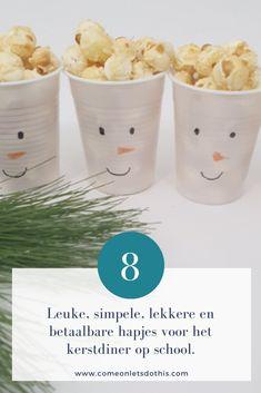 De 8 leukste kersthapjes voor het kerstdiner op school. Makkelijk, lekker, betaalbaar, snel en altijd een succes! #kerstdiner #school #olaf #popcorn #sneeuwpop #kersthapjes Olaf, Popcorn, School, Winter, Winter Time, Winter Fashion