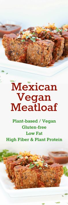 Chili, cumin, beans, corn--all of the flavors an enchilada would offer are reunited in this gluten-free and vegan meatloaf! A tasty plant-based twist on a traditional dish! without cheese Veggie Recipes, Mexican Food Recipes, Whole Food Recipes, Cooking Recipes, Low Fat Vegetarian Recipes, Vegetarian Mexican, Shrimp Recipes, Free Recipes, Keto Recipes