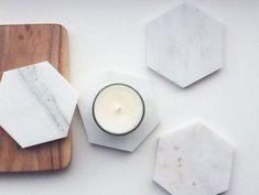 Whitewick Home are selling beautiful Italian calacatta Marble hexagon Coasters… Calacatta Marble, Corian, Marble Coasters, Drink Coasters, Granite, Marble Candle, Italian Marble, Coaster Furniture, My New Room