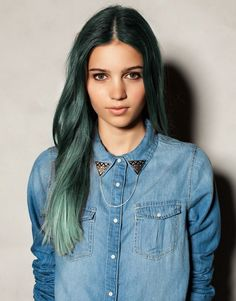 Green - I would seriously get this hair colour. Love it.