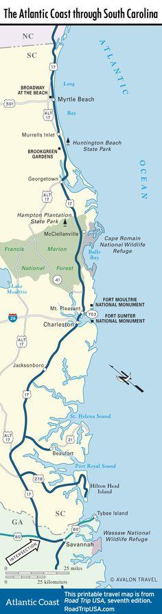 Map Of The Atlantic Coast Through South Carolina