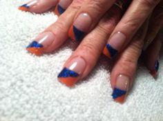Acrylic blue and orange Denver Bronco Nails!