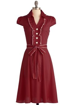About the Artist Dress in Brick - Long, Red, Solid, Buttons, Ruffles, Vintage Inspired, Shirt Dress, Cap Sleeves, Fall, Belted, White, Casual, 60s, Cotton, Best Seller, Button Down, Collared, Fit & Flare, Work