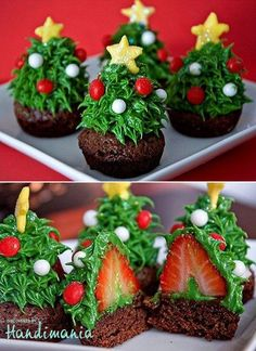 Cute Christmas cupcakes w/ a strawberry surprise!