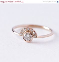 SUMMER SALE Diamond Engagement Ring with Pave Diamonds Crown - 0.2 Carat Round Diamond - 18k Solid Gold