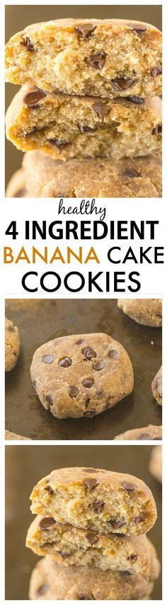 Healthy 4 Ingredient Banana Cake Cookies- Cake-like cookies which need just four ingredients and 12 minutes- You won't believe this delicious recipe is SO healthy too! {paleo, vegan, gluten-free}-