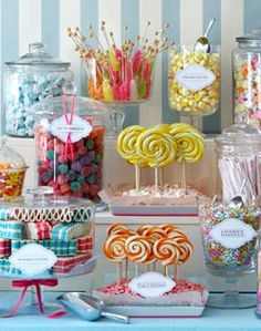 Candy Bar - I  like the circular lollipops, rock candy, and popcorn for them with steps to add height and a couple of cake stands..Option 2