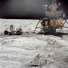Apollo 16, Orion, April 1972. Astronaut John Young and the lunar rover also in view.