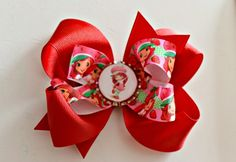 Red Strawberry Shortcake Bottlecap Bow-red strawberry shortcake bottlecap bow