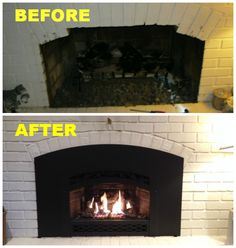 "Here is a before and after of a gas direct vent insert that we recently installed for a customer. The customer had a masonry fireplace with a set of gas logs in it and they wanted something that they could get more heat from. Showed in the ""After"" picture is what they chose, and could not be happier! They are getting quadruple the amount of heat and efficiency and are using much less gas than before! Garage Door Installation, Gas Logs, Before After Photo, Fireplace Inserts, Home Improvement, Photos, Pictures, Remodels, Cleaning"