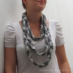 Braided scarf with old t-shirts.