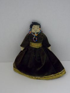hand made,  Indian doll, beaded necklace and hoop earrings, brown and gold dress by DocsOddsandEnds on Etsy