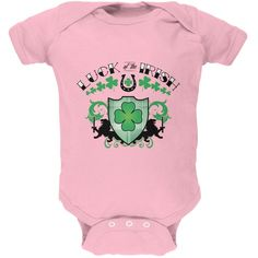 St. Patricks Day - Luck Of The Irish Light Pink Soft Baby One Piece