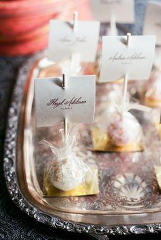 Cake pops as escort cards. Cocoa & Fig. Photography: Liz Banfield - lizbanfield.com