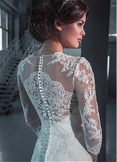 Buy discount Alluring Tulle Jewel Neckline Trumpet Wedding Dresses With Sequin Lace Appliques at Dressilyme.com