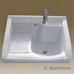 -Ceramic Laundry Sink With Washboard Laundry Room Sink, Laundry Tubs, Laundry Room Remodel, Basement Laundry, Laundry Room Design, Small Laundry Sink, Laundry Room With Sink, Wash Tubs, Basin Sink