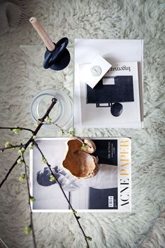 via Coco Lapine Design blog White Linen Curtains, Linen Pillows, Black Candle Holders, Rattan Armchair, Ikea Sofa, Flat Lay Photography, Black Candles, Flatlay Styling, Home Studio