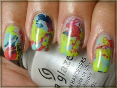 China Glaze Sea Spray (light grey shimmer). splatter colors': China Glaze Rodeo Fanatic (dark blue shimmer), Pure Ice Wild Thing (neon green creme), Finger Paints Tiffany Imposter (tiffany blue creme), and Sally Hanson Salon Orange You Cute! (red-orange coral creme).
