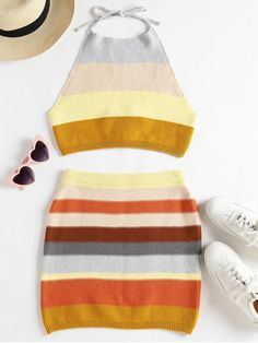 Product Knitted Striped Top and Skirt Set available for Zaful WW, get it now ! Two Piece Long Dress, Two Piece Pants Set, Two Piece Outfit, Moda Fashion, Trendy Fashion, Style Fashion, Fashion Black, Fashion Ideas, Vintage Fashion