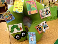 The Book Fairy-Goddess: Teaching Book Care. Great ideas for back to school in the elementary library. Be on the lookout for a green neck pillow this summer! Put googly eyes on it and you have a Mr. Wiggles book worm who can hang out in your library or classroom to remind kids to take care of their books. :)