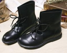 Black Handmade Leather Shoes,Ankle Boots Sandals,Oxford Women Shoes, Flat Shoes, Retro Leather Shoes, Casual Shoes, Short Boots