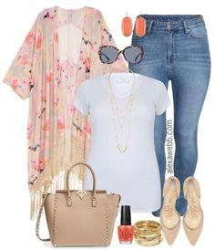 Plus Size Fringe Kimono Outfit - Plus Size Fashion for Women - Alexa Webb. This is the romantic style I adore! Curvy Girl Fashion, Look Fashion, Plus Fashion, Womens Fashion, Fashion Stores, Fashion 2018, Fashion Online, Look Kimono, Kimono Outfit