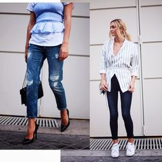 Ripped boyfriend or high-waist cropped skinny jeans- we love them all! #Monkistyle