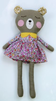 17 inch handmade fabric bear softie by LiaAndLucy on Etsy
