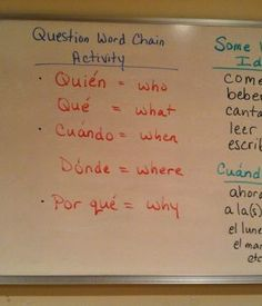 Spanish Question Word Chain Activity | Spanish for You! | Spanish Verbs