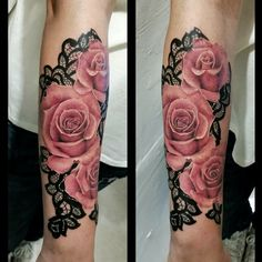 Realistic Roses with lace done by @karina_m_k with @bishoprotary & @ ...