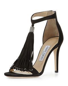 "Jimmy Choo suede sandal. Gunmetal hardware. 4"" covered heel. Thin strap bands…"