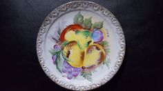 Vintage Collect Ucagco Tag Fruit Hand Painted Japan Wall Plate Decor Signed 8""