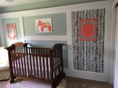 Our Birch Tree Peel and Stick Wallpaper looking beautiful in a nursery!