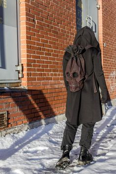 Skull Backpack - Skull Bag - Skull Rucksack - Another! Mode Sombre, Skull Artwork, Things To Buy, Stuff To Buy, Mask Design, Look Cool, Leather Craft, Cool Outfits, Mens Fashion