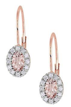10K Rose Gold Morganite & Diamond Oval Earrings by Blushing Bride: Rose Gold Jewelry on @HauteLook