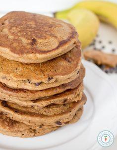 Peanut Butter Banana Chocolate Chip Oatmeal Pancakes (recipe serves 4)