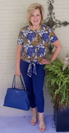 50 IS NOT OLD | IT IS ALL ABOUT THE PRINTS | Blue & Gold | Floral Prints | Tie Top | Fashion Over 40 For The Everyday Woman